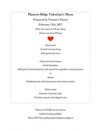 Valentine's Guest Chef @ Planters Ridge Winery